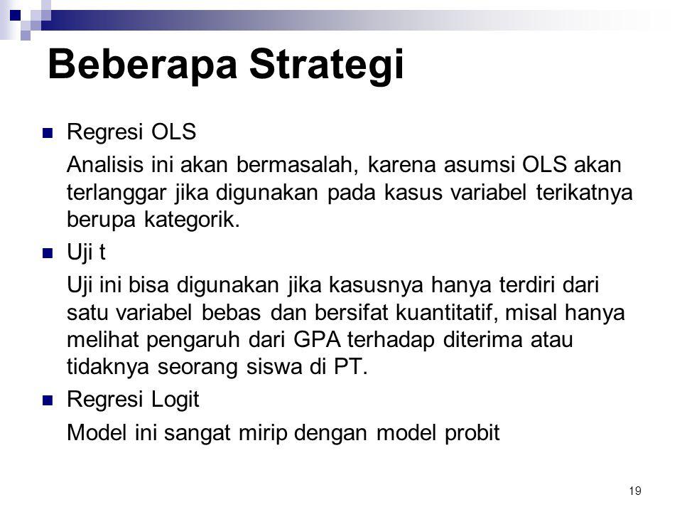 19 Beberapa Strategi  Regresi OLS Analisis ini akan bermasalah, karena asumsi OLS akan terlanggar jika digunakan pada kasus variabel terikatnya berupa kategorik.