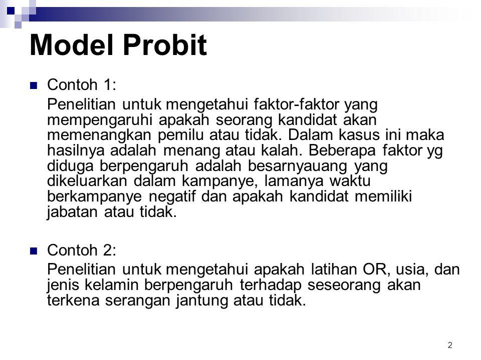 2 Model Probit  Contoh 1: Penelitian untuk mengetahui faktor-faktor yang mempengaruhi apakah seorang kandidat akan memenangkan pemilu atau tidak.