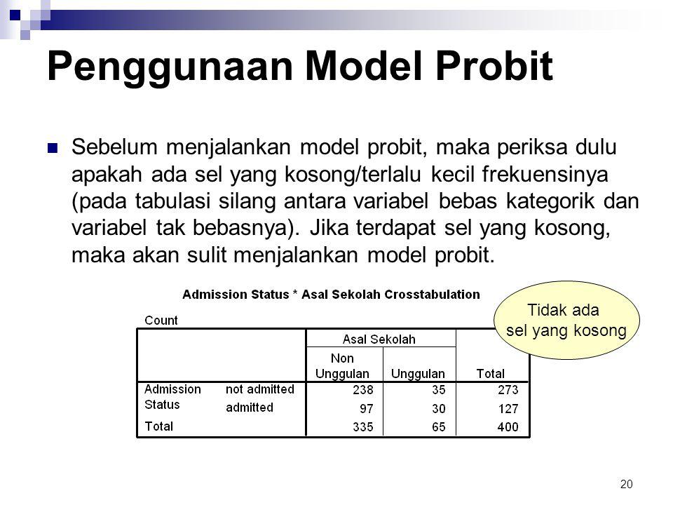 20 Penggunaan Model Probit  Sebelum menjalankan model probit, maka periksa dulu apakah ada sel yang kosong/terlalu kecil frekuensinya (pada tabulasi