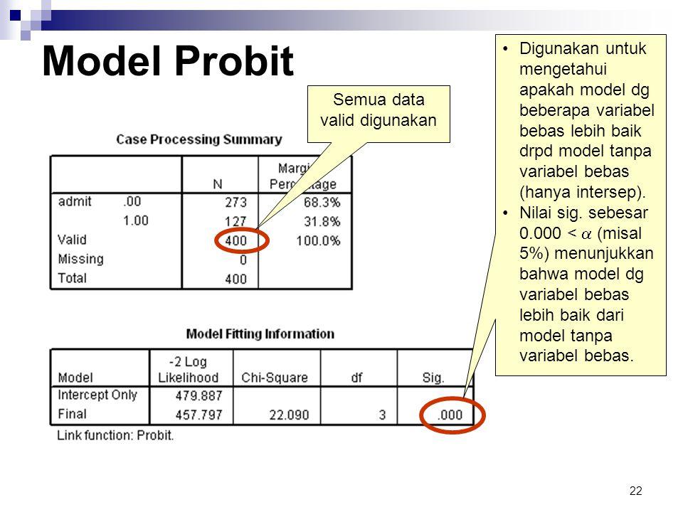 22 Model Probit Semua data valid digunakan •Digunakan untuk mengetahui apakah model dg beberapa variabel bebas lebih baik drpd model tanpa variabel be