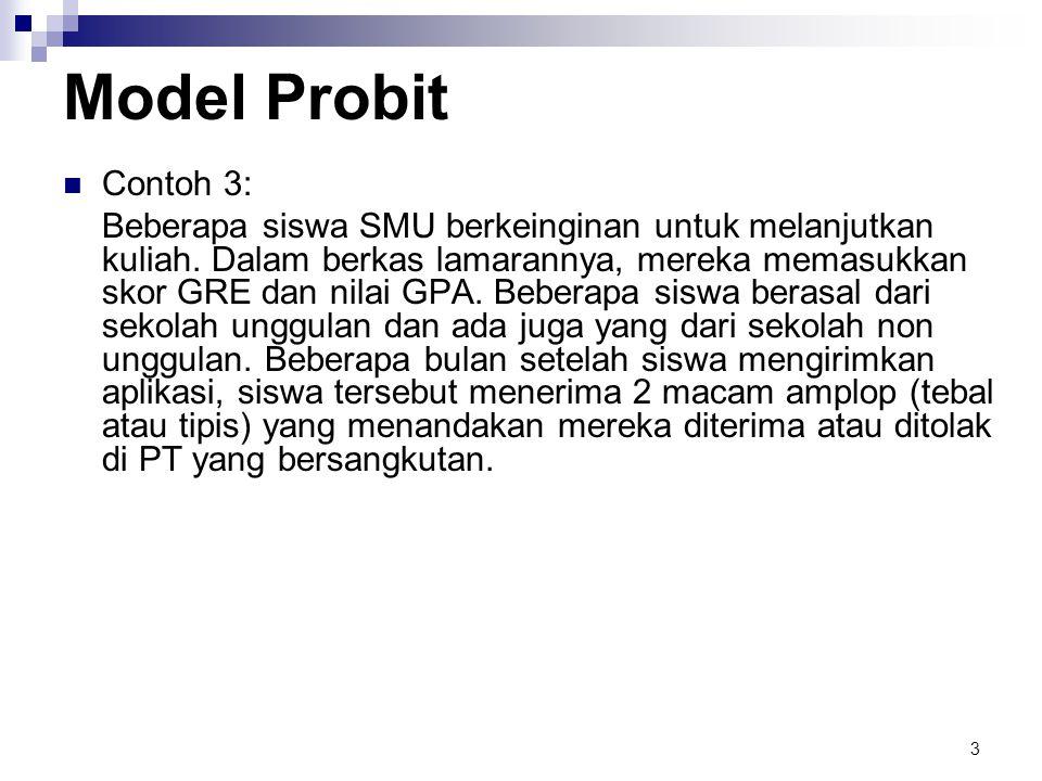 3 Model Probit  Contoh 3: Beberapa siswa SMU berkeinginan untuk melanjutkan kuliah. Dalam berkas lamarannya, mereka memasukkan skor GRE dan nilai GPA