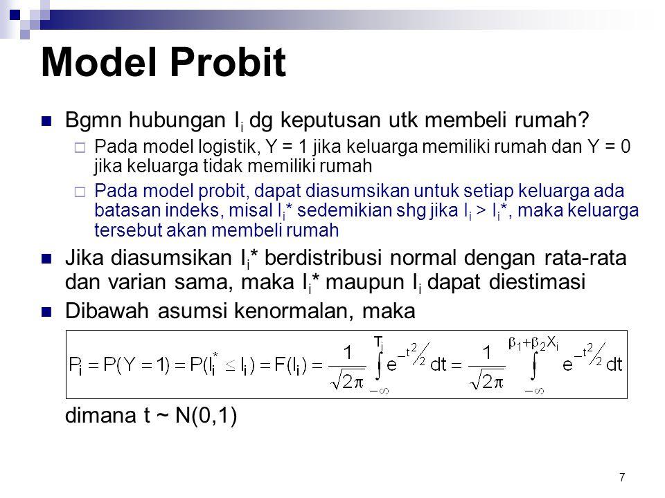 7 Model Probit  Bgmn hubungan I i dg keputusan utk membeli rumah?  Pada model logistik, Y = 1 jika keluarga memiliki rumah dan Y = 0 jika keluarga t