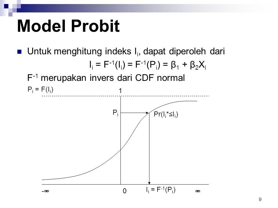 9 Model Probit  Untuk menghitung indeks I i, dapat diperoleh dari I i = F -1 (I i ) = F -1 (P i ) = β 1 + β 2 X i F -1 merupakan invers dari CDF normal PiPi Pr(I i *≤I i ) 0 -- P i = F(I i ) 1 I i = F -1 (P i )