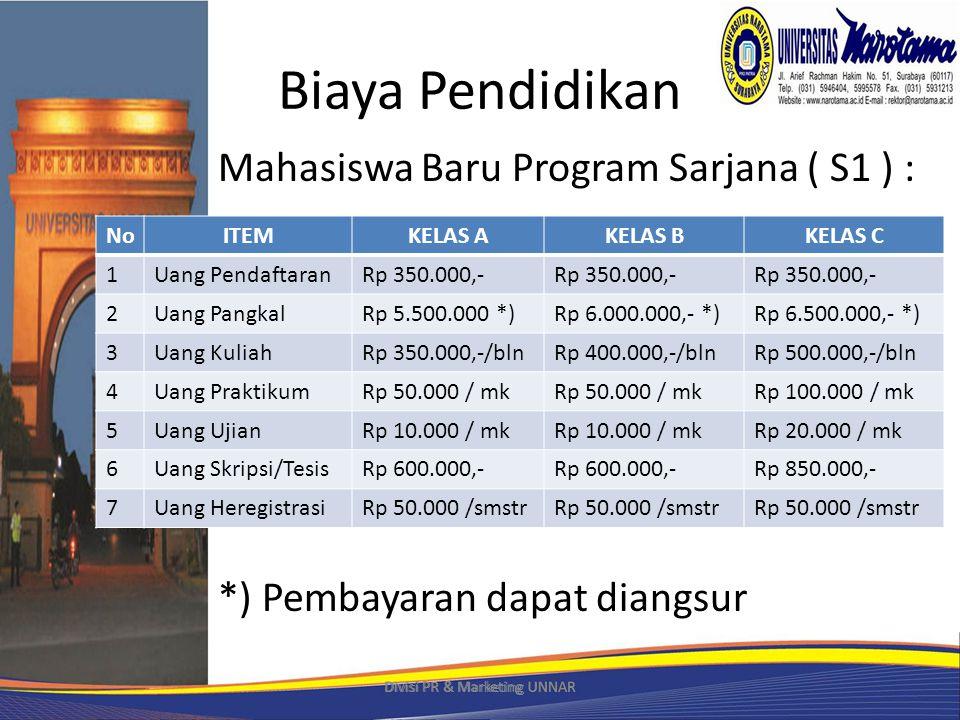 Biaya Pendidikan Mahasiswa Baru Program Sarjana ( S1 ) : *) Pembayaran dapat diangsur Divisi PR & Marketing UNNAR NoITEMKELAS AKELAS BKELAS C 1Uang PendaftaranRp 350.000,- 2Uang PangkalRp 5.500.000 *)Rp 6.000.000,- *)Rp 6.500.000,- *) 3Uang KuliahRp 350.000,-/blnRp 400.000,-/blnRp 500.000,-/bln 4Uang PraktikumRp 50.000 / mk Rp 100.000 / mk 5Uang UjianRp 10.000 / mk Rp 20.000 / mk 6Uang Skripsi/TesisRp 600.000,- Rp 850.000,- 7Uang HeregistrasiRp 50.000 /smstr