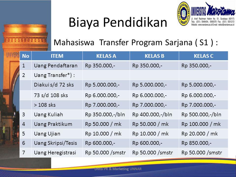 Biaya Pendidikan Mahasiswa Transfer Program Sarjana ( S1 ) : *) Pembayaran dapat diangsur Divisi PR & Marketing UNNAR NoITEMKELAS AKELAS BKELAS C 1Uang PendaftaranRp 350.000,- 2Uang Transfer*) : Diakui s/d 72 sksRp 5.000.000,- 73 s/d 108 sksRp 6.000.000,- > 108 sksRp 7.000.000,- 3Uang KuliahRp 350.000,-/blnRp 400.000,-/blnRp 500.000,-/bln 4Uang PraktikumRp 50.000 / mk Rp 100.000 / mk 5Uang UjianRp 10.000 / mk Rp 20.000 / mk 6Uang Skripsi/TesisRp 600.000,- Rp 850.000,- 7Uang HeregistrasiRp 50.000 /smstr