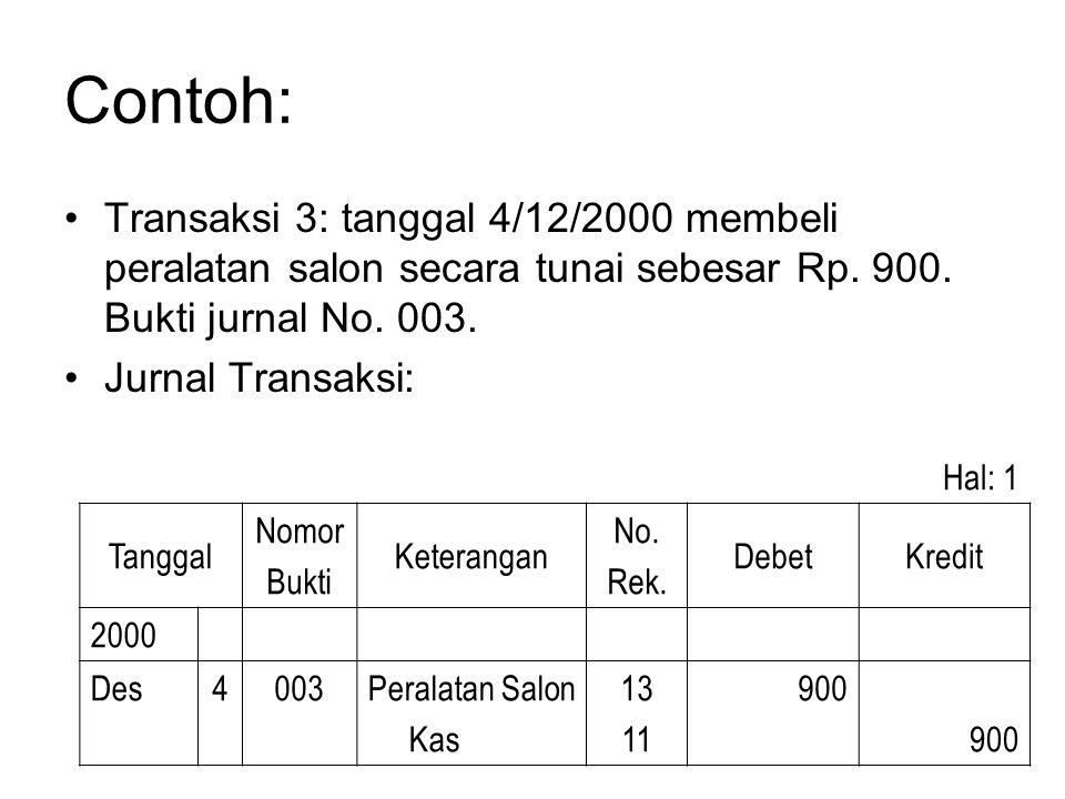 Contoh: •Transaksi 3: tanggal 4/12/2000 membeli peralatan salon secara tunai sebesar Rp. 900. Bukti jurnal No. 003. •Jurnal Transaksi: Hal: 1 Tanggal