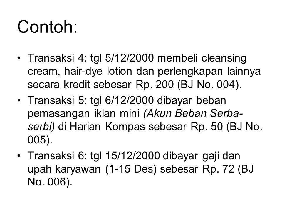 Contoh: •Transaksi 4: tgl 5/12/2000 membeli cleansing cream, hair-dye lotion dan perlengkapan lainnya secara kredit sebesar Rp. 200 (BJ No. 004). •Tra