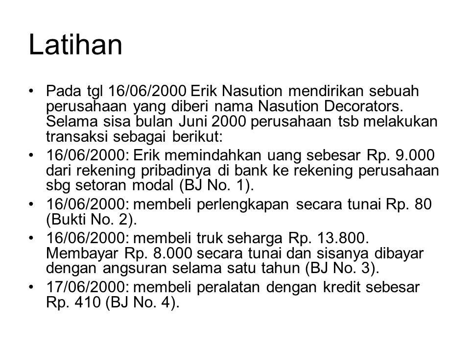 Latihan •Pada tgl 16/06/2000 Erik Nasution mendirikan sebuah perusahaan yang diberi nama Nasution Decorators. Selama sisa bulan Juni 2000 perusahaan t