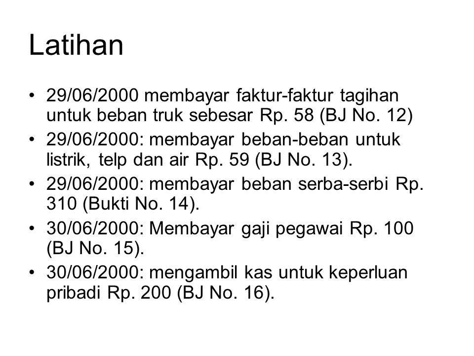 Latihan •29/06/2000 membayar faktur-faktur tagihan untuk beban truk sebesar Rp. 58 (BJ No. 12) •29/06/2000: membayar beban-beban untuk listrik, telp d