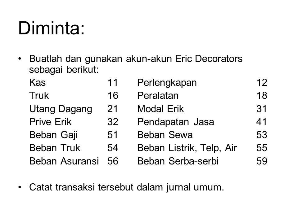 Diminta: •Buatlah dan gunakan akun-akun Eric Decorators sebagai berikut: Kas11Perlengkapan12 Truk16Peralatan18 Utang Dagang 21Modal Erik31 Prive Erik3