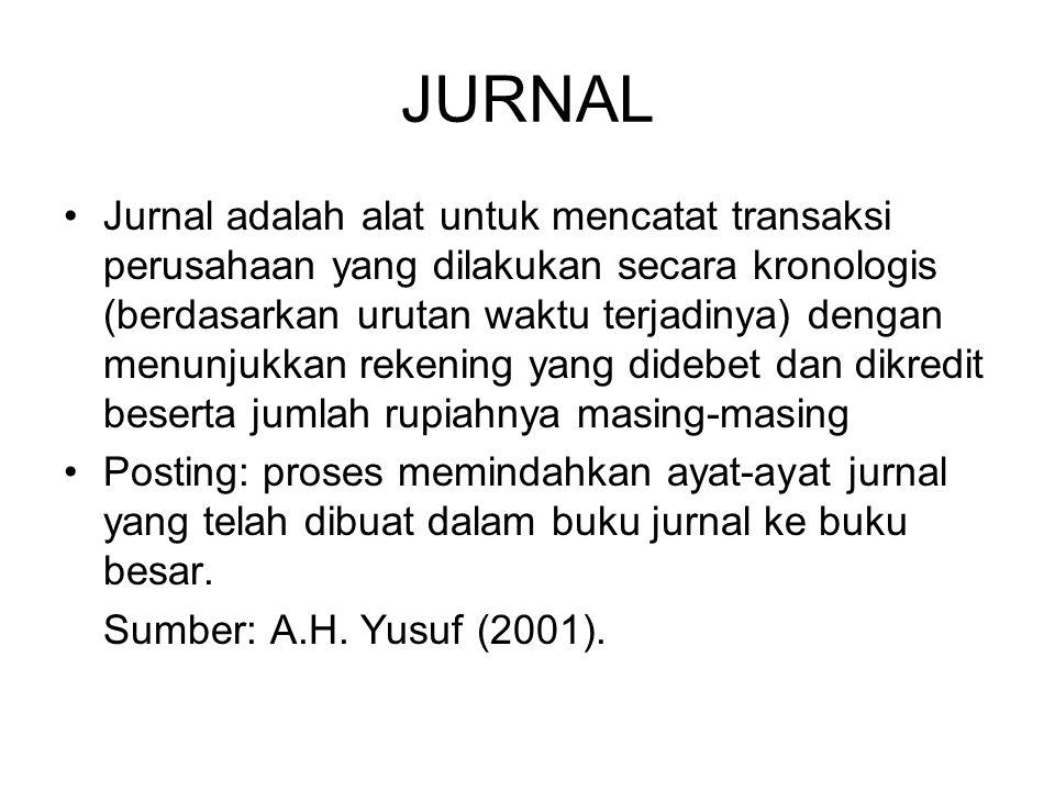 JURNAL •Jurnal adalah alat untuk mencatat transaksi perusahaan yang dilakukan secara kronologis (berdasarkan urutan waktu terjadinya) dengan menunjukk