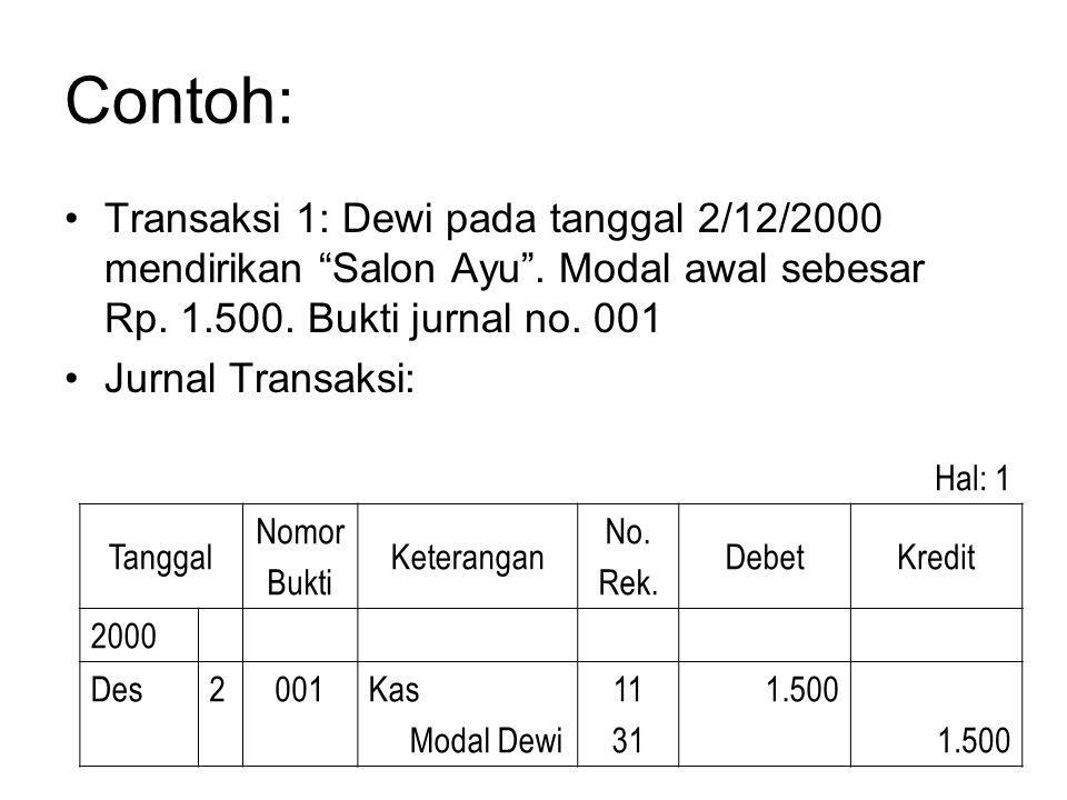 "Contoh: •Transaksi 1: Dewi pada tanggal 2/12/2000 mendirikan ""Salon Ayu"". Modal awal sebesar Rp. 1.500. Bukti jurnal no. 001 •Jurnal Transaksi: Hal: 1"