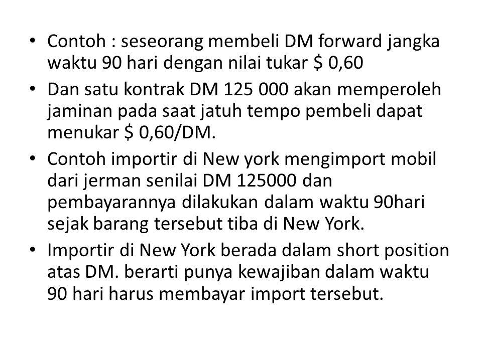 • Contoh : seseorang membeli DM forward jangka waktu 90 hari dengan nilai tukar $ 0,60 • Dan satu kontrak DM 125 000 akan memperoleh jaminan pada saat