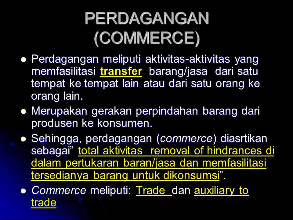 PERDAGANGAN (COMMERCE)  Perdagangan meliputi aktivitas-aktivitas yang memfasilitasi barang/jasa dari satu tempat ke tempat lain atau dari satu orang ke orang lain.