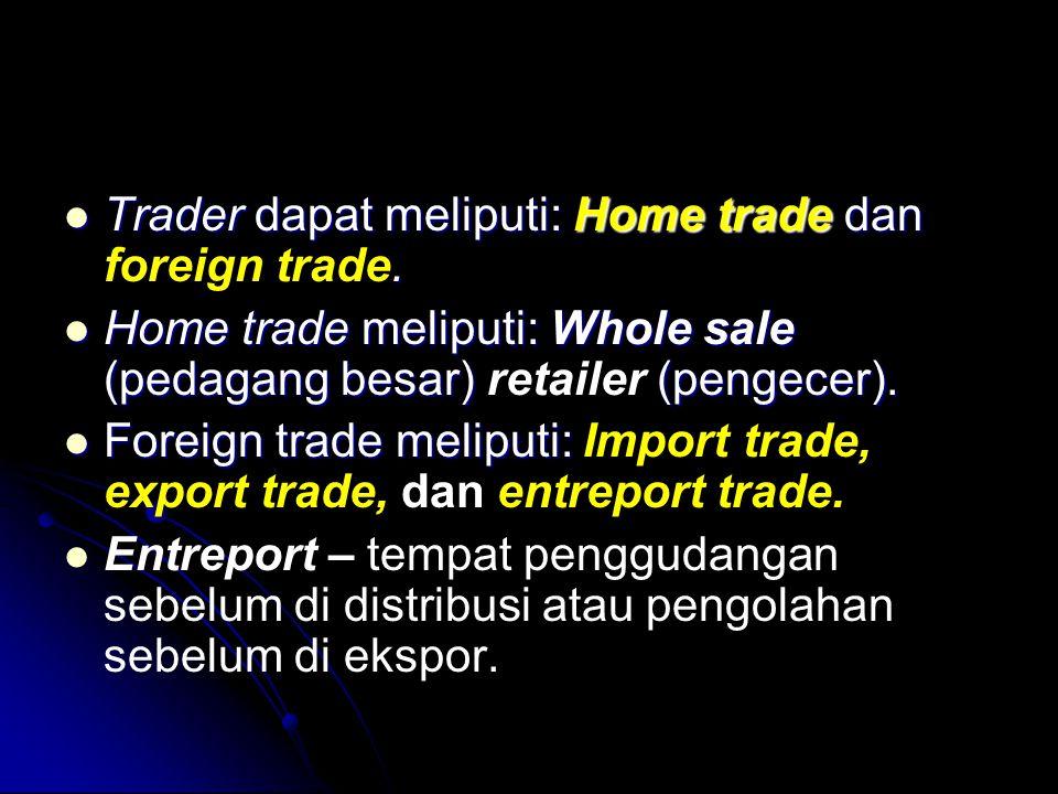  Trader dapat meliputi: Home trade dan.  Trader dapat meliputi: Home trade dan foreign trade.  Home trade meliputi: Whole sale (pedagang besar) (pe