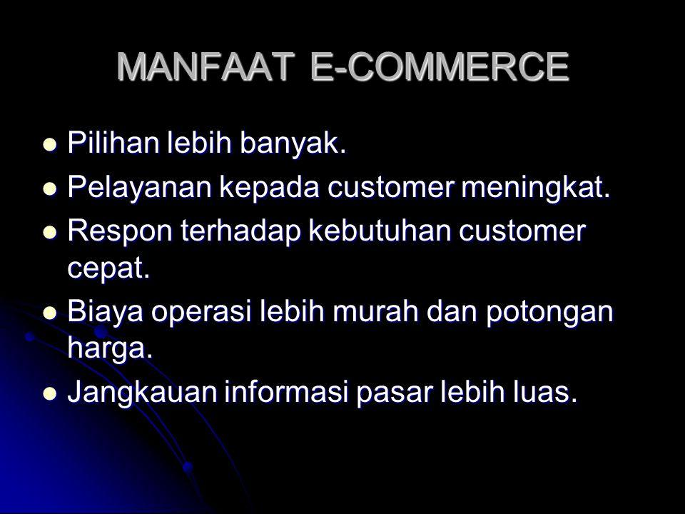 MANFAAT E-COMMERCE  Pilihan lebih banyak.  Pelayanan kepada customer meningkat.  Respon terhadap kebutuhan customer cepat.  Biaya operasi lebih mu