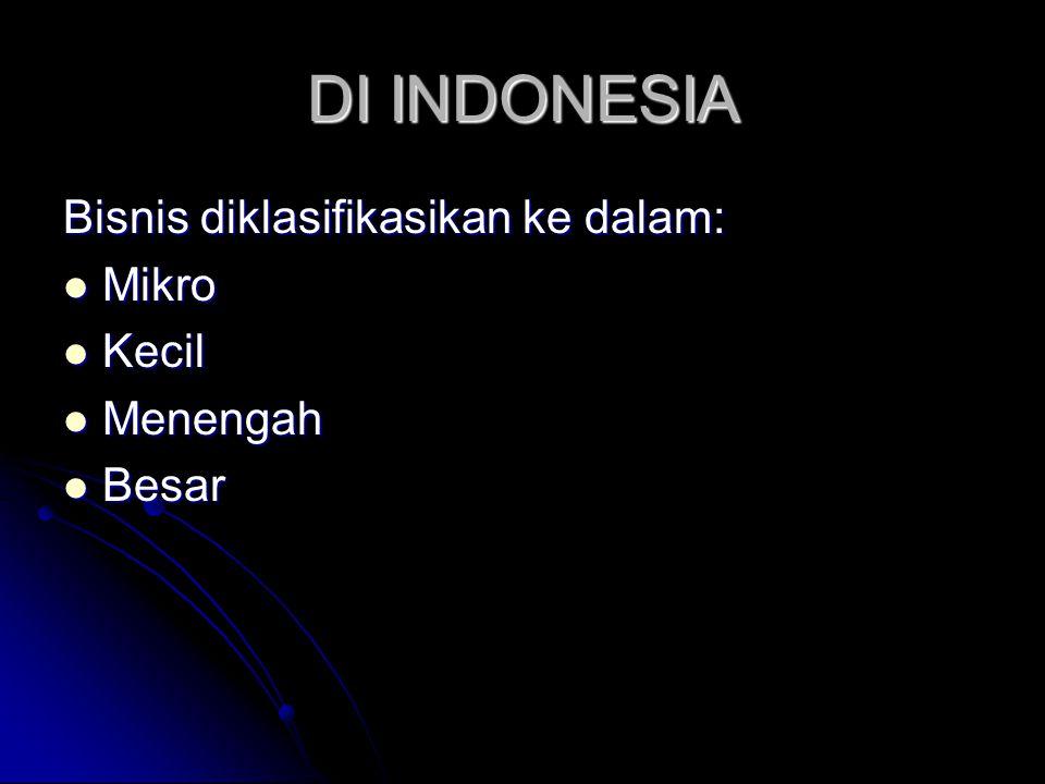 DI INDONESIA Bisnis diklasifikasikan ke dalam:  Mikro  Kecil  Menengah  Besar