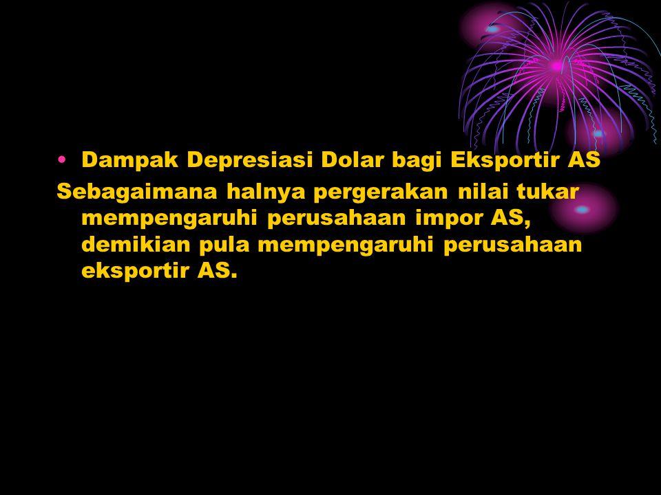 •Dampak Menguatnya Dolar bagi Importir AS Diasumsikan nilai pound mengalami depresiasi, misalnya semula nilai pound = $2.00, berubah menjadi $1.90. Ji