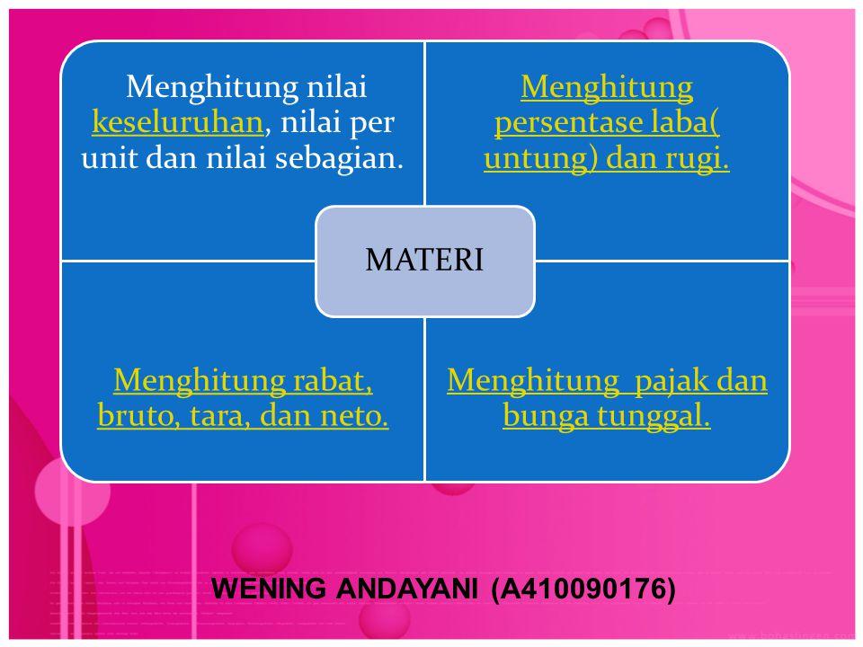 Menghitung nilai keseluruhan, nilai per unit dan nilai sebagian.