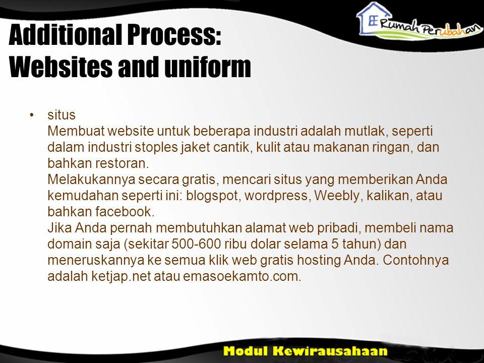 Additional Process: Websites and uniform •situs Membuat website untuk beberapa industri adalah mutlak, seperti dalam industri stoples jaket cantik, kulit atau makanan ringan, dan bahkan restoran.