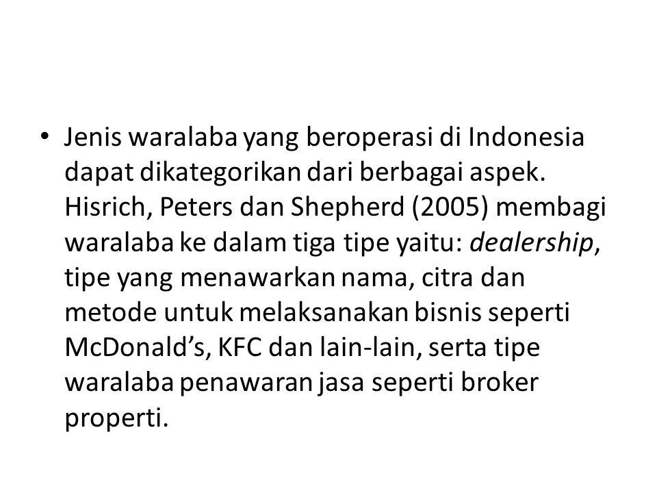 • Jenis waralaba yang beroperasi di Indonesia dapat dikategorikan dari berbagai aspek. Hisrich, Peters dan Shepherd (2005) membagi waralaba ke dalam t