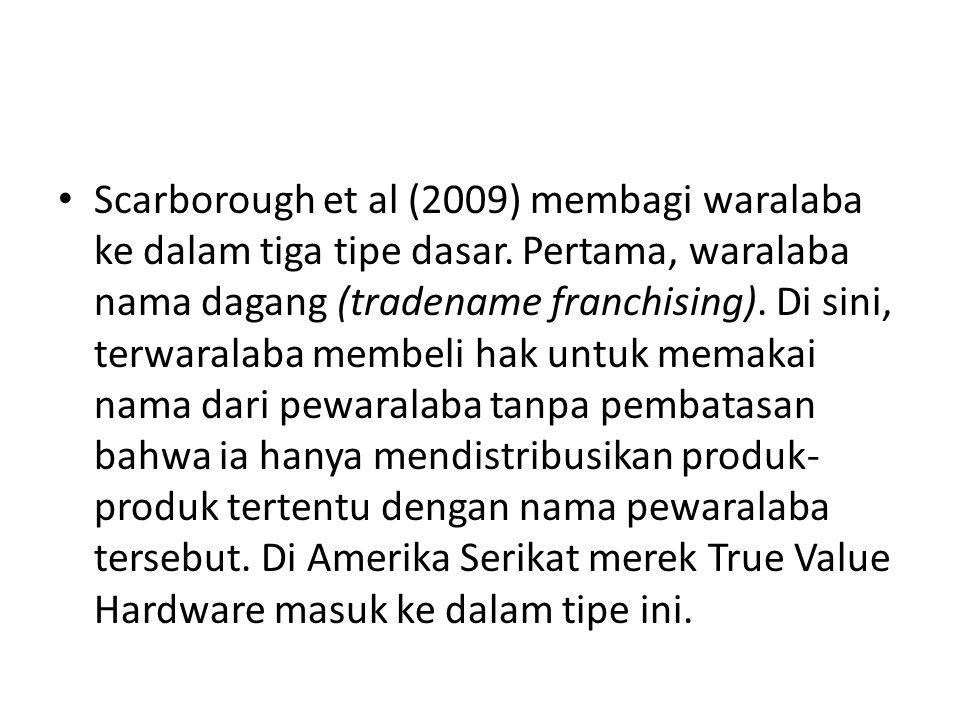 • Scarborough et al (2009) membagi waralaba ke dalam tiga tipe dasar. Pertama, waralaba nama dagang (tradename franchising). Di sini, terwaralaba memb