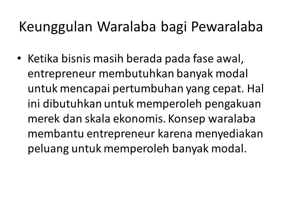 Keunggulan Waralaba bagi Pewaralaba • Ketika bisnis masih berada pada fase awal, entrepreneur membutuhkan banyak modal untuk mencapai pertumbuhan yang