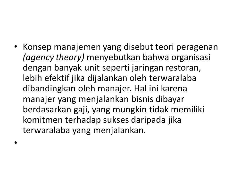 • Konsep manajemen yang disebut teori peragenan (agency theory) menyebutkan bahwa organisasi dengan banyak unit seperti jaringan restoran, lebih efektif jika dijalankan oleh terwaralaba dibandingkan oleh manajer.