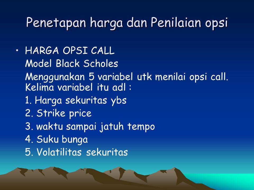 Penetapan harga dan Penilaian opsi •HARGA OPSI CALL Model Black Scholes Menggunakan 5 variabel utk menilai opsi call. Kelima variabel itu adl : 1. Har