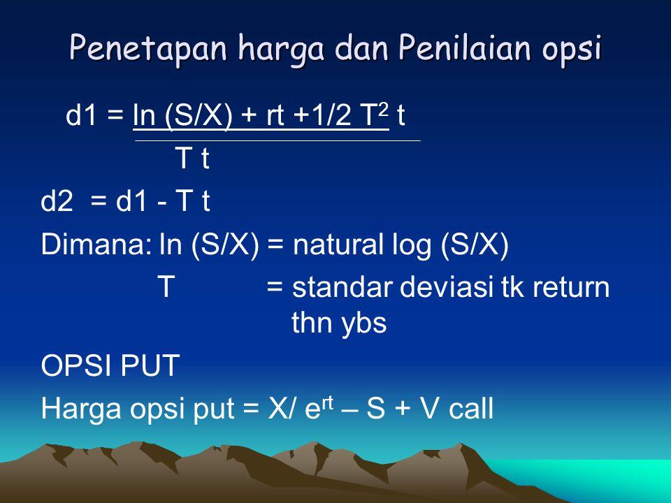 Penetapan harga dan Penilaian opsi d1 = ln (S/X) + rt +1/2 T 2 t T t d2 = d1 - T t Dimana: ln (S/X) = natural log (S/X) T = standar deviasi tk return