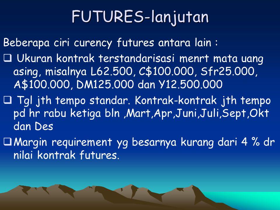 FUTURES-lanjutan Beberapa ciri curency futures antara lain :  Ukuran kontrak terstandarisasi menrt mata uang asing, misalnya L62.500, C$100.000, Sfr2