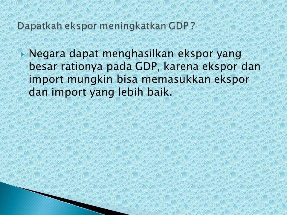  Negara dapat menghasilkan ekspor yang besar rationya pada GDP, karena ekspor dan import mungkin bisa memasukkan ekspor dan import yang lebih baik.