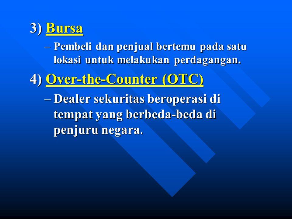 3) Bursa –Pembeli dan penjual bertemu pada satu lokasi untuk melakukan perdagangan. 4) Over-the-Counter (OTC) –Dealer sekuritas beroperasi di tempat y