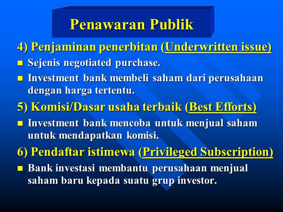 4) Penjaminan penerbitan (Underwritten issue) n Sejenis negotiated purchase. n Investment bank membeli saham dari perusahaan dengan harga tertentu. 5)