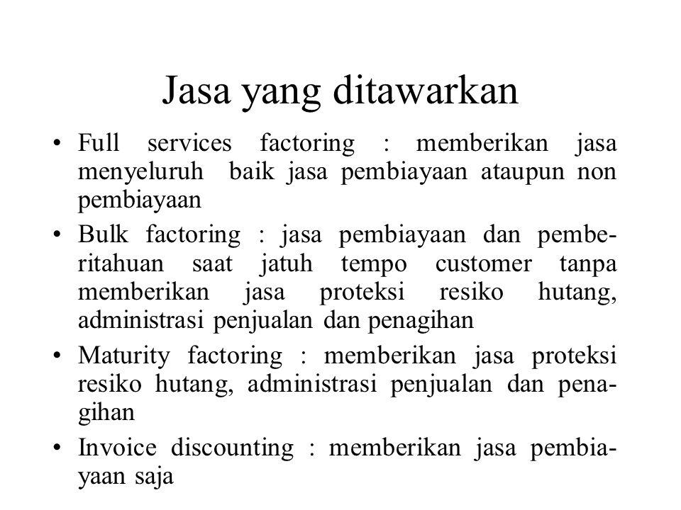 Jasa yang ditawarkan •Full services factoring : memberikan jasa menyeluruh baik jasa pembiayaan ataupun non pembiayaan •Bulk factoring : jasa pembiaya