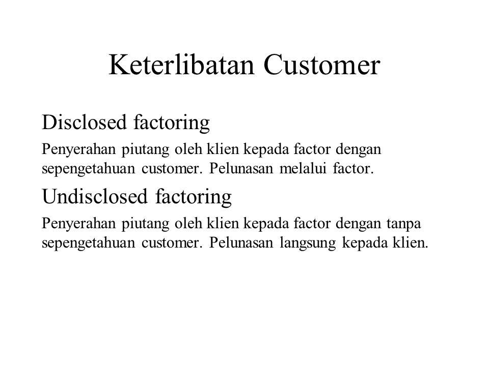 Keterlibatan Customer Disclosed factoring Penyerahan piutang oleh klien kepada factor dengan sepengetahuan customer. Pelunasan melalui factor. Undiscl