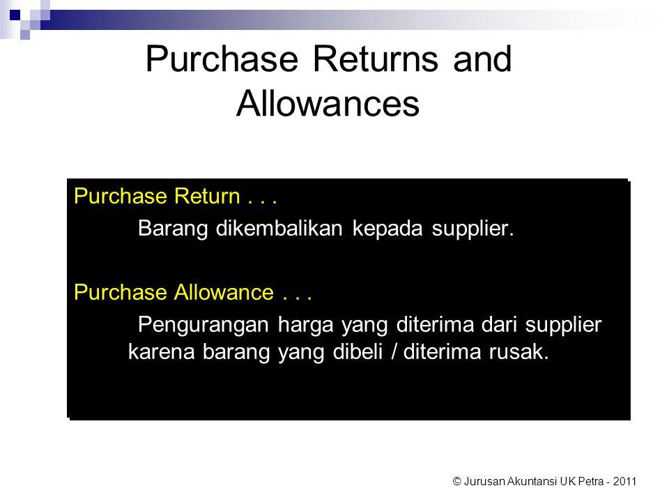 © Jurusan Akuntansi UK Petra - 2011 Purchase Returns and Allowances Purchase Return... Barang dikembalikan kepada supplier. Purchase Allowance... Peng