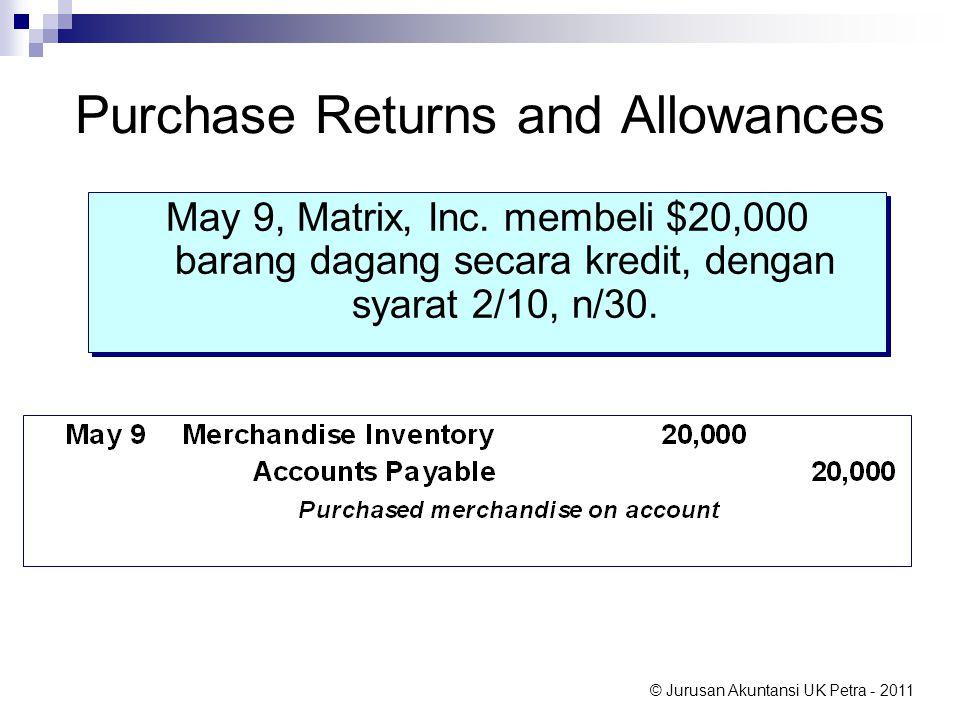 © Jurusan Akuntansi UK Petra - 2011 Purchase Returns and Allowances May 9, Matrix, Inc. membeli $20,000 barang dagang secara kredit, dengan syarat 2/1