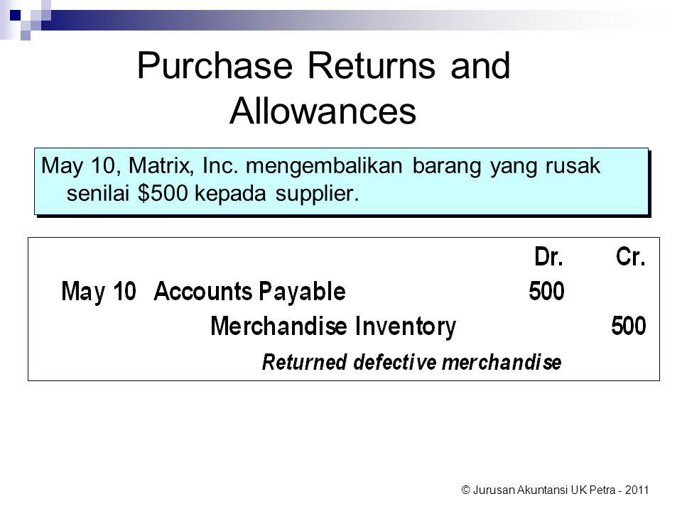 © Jurusan Akuntansi UK Petra - 2011 Purchase Returns and Allowances May 10, Matrix, Inc. mengembalikan barang yang rusak senilai $500 kepada supplier.