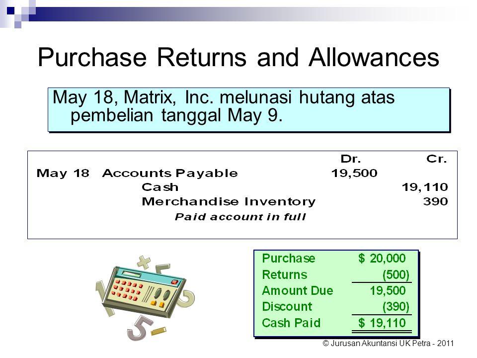 © Jurusan Akuntansi UK Petra - 2011 Purchase Returns and Allowances May 18, Matrix, Inc. melunasi hutang atas pembelian tanggal May 9.