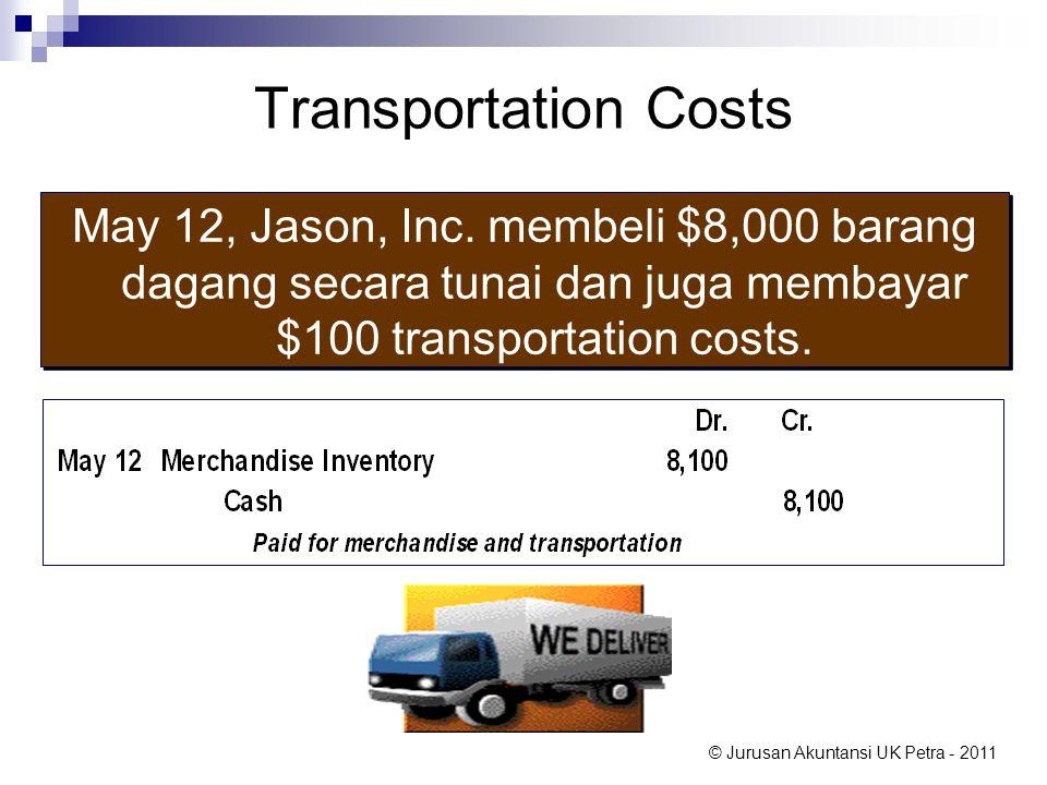 © Jurusan Akuntansi UK Petra - 2011 Transportation Costs May 12, Jason, Inc. membeli $8,000 barang dagang secara tunai dan juga membayar $100 transpor