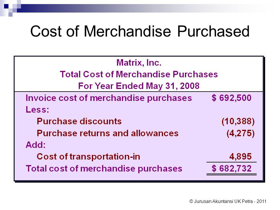 © Jurusan Akuntansi UK Petra - 2011 Cost of Merchandise Purchased