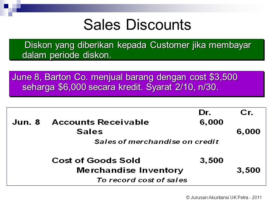 © Jurusan Akuntansi UK Petra - 2011 Sales Discounts June 8, Barton Co. menjual barang dengan cost $3,500 seharga $6,000 secara kredit. Syarat 2/10, n/