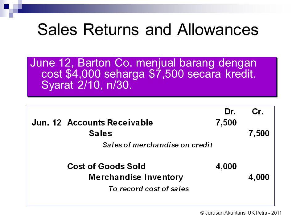 © Jurusan Akuntansi UK Petra - 2011 Sales Returns and Allowances June 12, Barton Co. menjual barang dengan cost $4,000 seharga $7,500 secara kredit. S