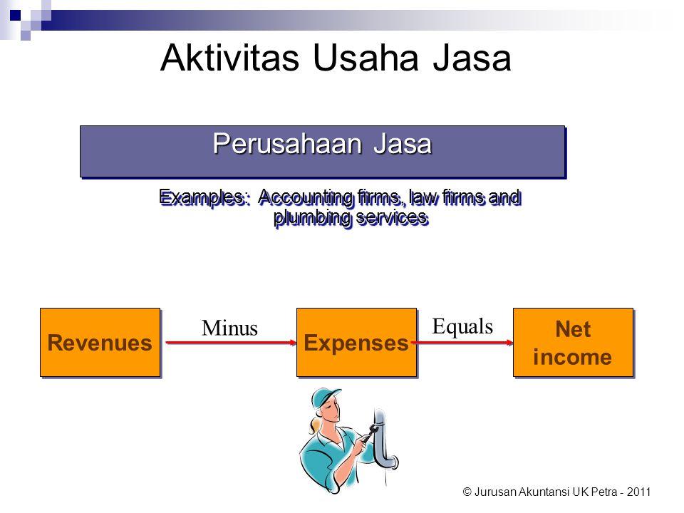 © Jurusan Akuntansi UK Petra - 2011 Aktivitas Usaha Jasa Perusahaan Jasa Examples: Accounting firms, law firms and plumbing services Perusahaan Jasa E