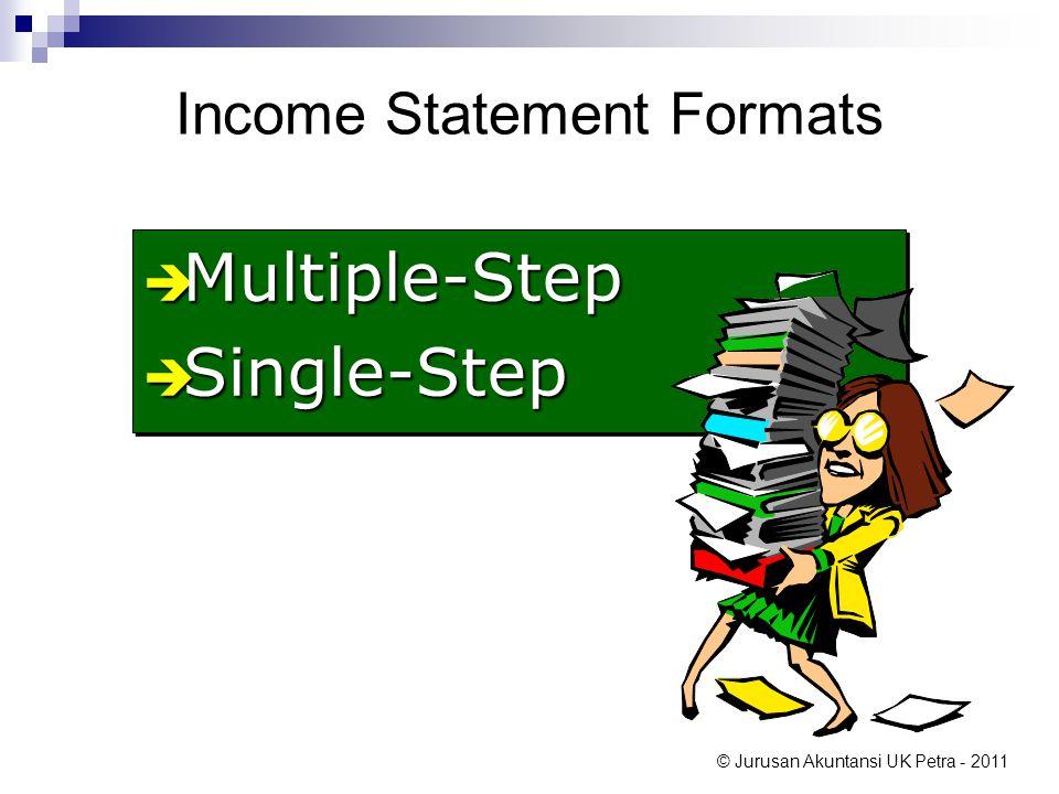 © Jurusan Akuntansi UK Petra - 2011 Income Statement Formats  Multiple-Step  Single-Step  Multiple-Step  Single-Step