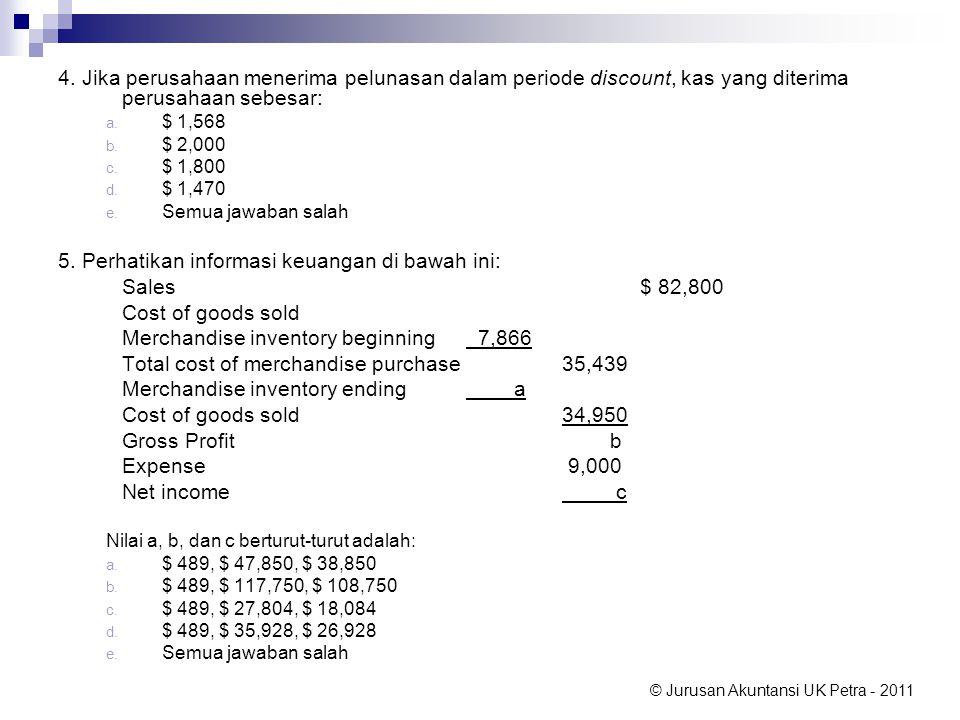 © Jurusan Akuntansi UK Petra - 2011 4. Jika perusahaan menerima pelunasan dalam periode discount, kas yang diterima perusahaan sebesar: a. $ 1,568 b.
