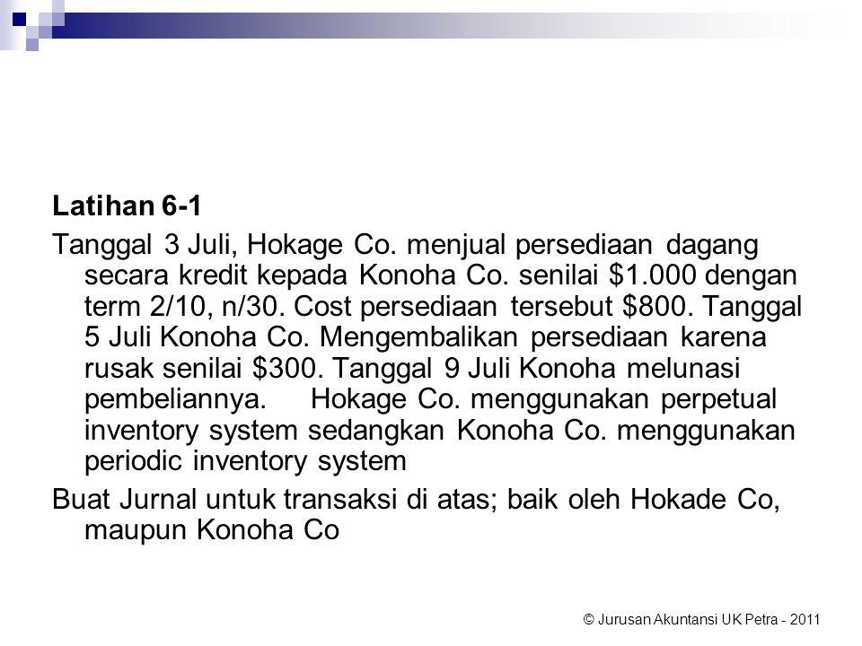 © Jurusan Akuntansi UK Petra - 2011 Latihan 6-1 Tanggal 3 Juli, Hokage Co. menjual persediaan dagang secara kredit kepada Konoha Co. senilai $1.000 de