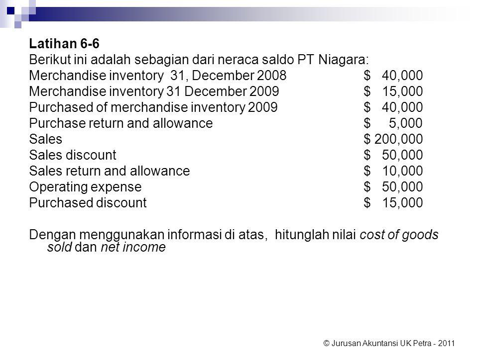 © Jurusan Akuntansi UK Petra - 2011 Latihan 6-6 Berikut ini adalah sebagian dari neraca saldo PT Niagara: Merchandise inventory 31, December 2008$ 40,