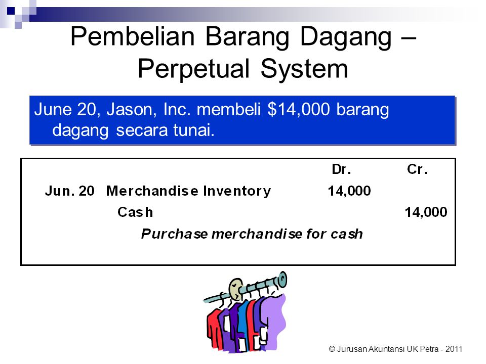 © Jurusan Akuntansi UK Petra - 2011 Pembelian Barang Dagang – Perpetual System June 20, Jason, Inc. membeli $14,000 barang dagang secara tunai.